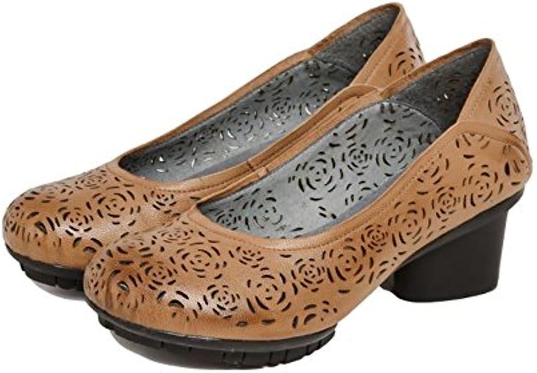 YNXZ-SHOE Sandalias de temperamento para mujeres, piel de oveja de boca baja Cabeza redonda Temporadas de zapatos...