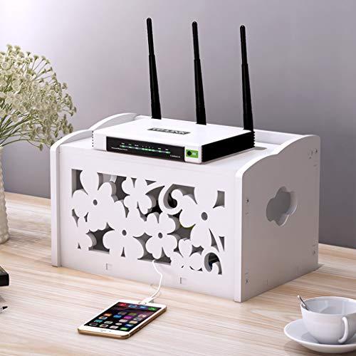 LXYFMS Kabel Netzstecker Draht Aufbewahrungsbox Regal für WiFi-Router TV-Box Set-Top-Box Streaming Media-Gerät Spielkonsole weiß Router-Rack (Size : A) - Draht Dvd-rack
