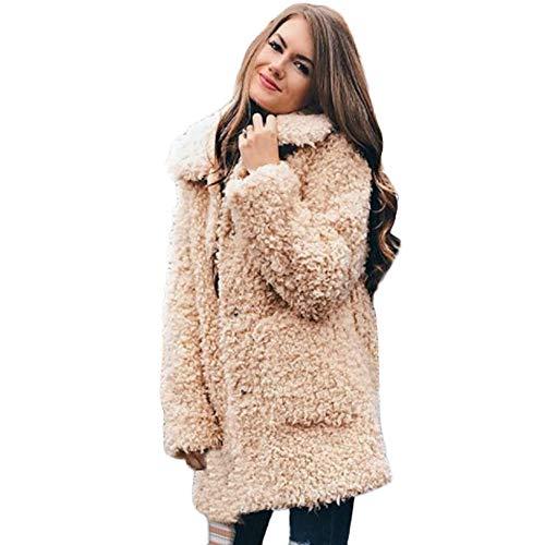 Elegant Teddy Jacke Cardigan MYMYG Strick Frauen Maxi Offene Strickjacke Fleecejacke Asymmetrisch Strickmantel Mantel Jacke Oberteile(A1-Khaki,EU:42/CN-2XL)
