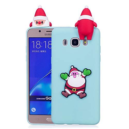 Für Samsung Galaxy J7 2016 Weihnachtsserien-Kasten, HengJun Weihnachtssankt-Blumen-dünner weicher Silikon-Fall 3D kreative Art- und Weisekühle Karikatur-nette stoßsichere Gummiabdeckung für Samsung Galaxy J7 2016 - B Grün