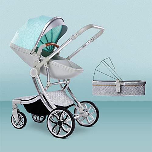 Strolex Kinderwagen kann sitzen und Falten, leicht und hoch, 2-Wege-Neugeborenen-Stoßdämpfer, 4 Räder, 1-4 Jahre, Blau