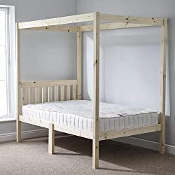Strictly Beds and Bunks Limited Four Poster Bed - 4ft 6 double solid natural pine 4 poster bed frame - Extra wide base slats with centre rail
