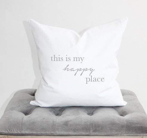 Claude6yhaly - federa per cuscino con scritta in lingua inglese this is my happy place, 18 x 18 cm, decorazione per la casa, appartamento, cuscino per divano, cuscino per arredamento moderno