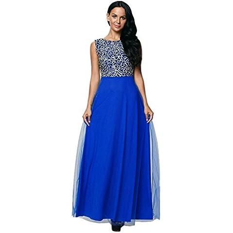 Robe de soirée en tulle brodé dentelle manches col rond dos robe robe , blue , s