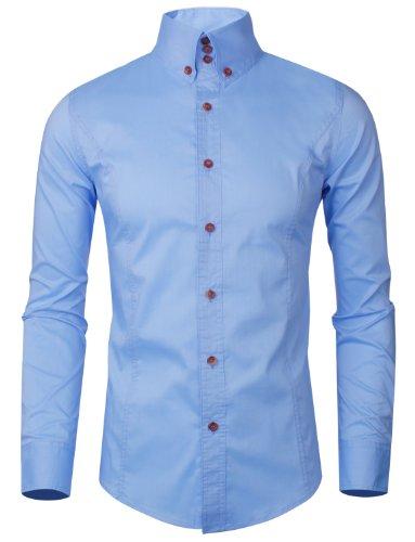 HRYfashion -  Camicia Casual  - Maniche lunghe  - Uomo 313-Blau