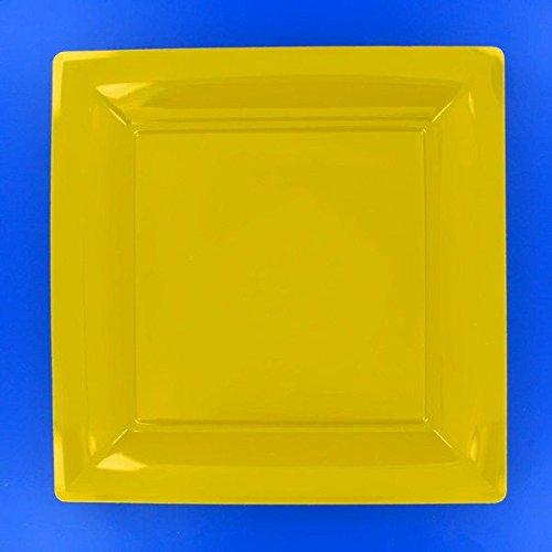 Ma Vaisselle Jetable - Assiette Carree Couleur Jaune Provence Diametre 290