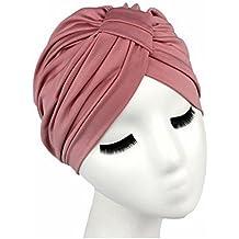 Pasabideak - Gorra de Turbante Indio de Color Liso para Mujer, Talla 3 (Rosa