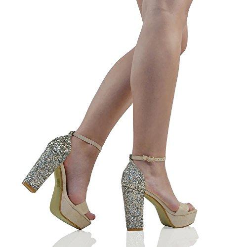 ESSEX GLAM Scarpa Donna Finto Scamosciato Sandalo Peep Toe Glitter Cinturino alla Caviglia Tacco Plateau Festa Carne Finto Scamosciato