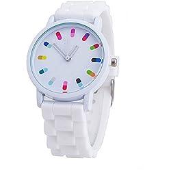 Women Ladies Clourful Dots Silicone Unisex Unisex Quartz Watch JJC001-White