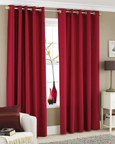 RED FAUX SILK LINED CURTAINS WITH EYELET RING TOP 66 x 90 by HOMEMAKER BEDDING