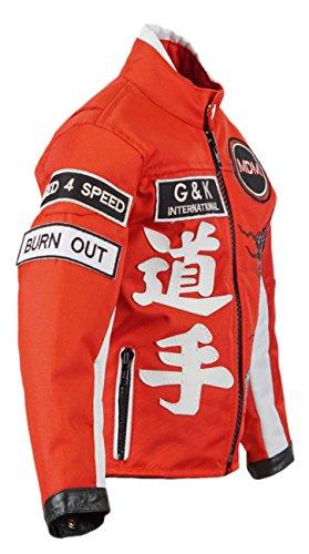 Motorradjacke für Kinder in Rot, Bikerjacke, Drachen Jacke, (S)