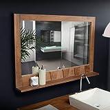 Unbekannt Tikamoon Papageientaucher Spiegel, Teak, beige, 100x 12x 70cm