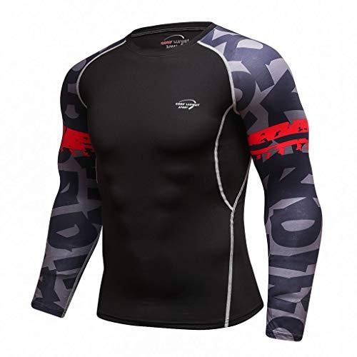 DNOQN Top Herren Long Tee Männer Mode für Männer Langarm Yoga Fitness Drucken Weich T-Shirt Top Bluse M