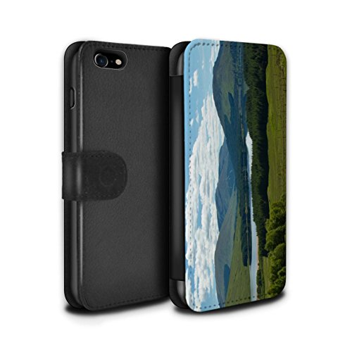 STUFF4 PU-Leder Hülle/Case/Tasche/Cover für Apple iPhone 7 / Tal Muster / Schottisch Landschaft Kollektion Gebirge/Loch