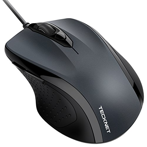 Wired Maus TeckNet Optical Business Mouse Verdrahtete Ergonomische Maus mit 6 Tasten, 2 Verstellbare DPI Level, USB-Kabel 140 cm (Maus Kurze)