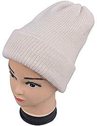 GROOMY Mujer Niñas Simple Invierno Otoño Espesar Sombrero de Punto Angora  Piel de Conejo Color sólido Puño Doble Capa Beanie Cap… 8cdbb8d2fc1