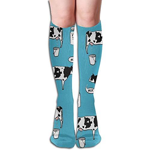 deyhfef Thigh High Socks Milk Cow Athletic Knee High Stockings 50cm