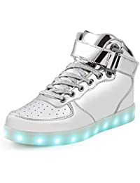 SAGUARO(TM) 7 Colores USB Carga LED Luz Glow Luminosos Light Up Flashing Sneakers Zapatos Deportivos de la Zapatillas de Deporte