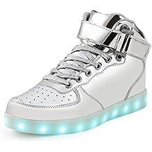 SAGUARO(TM) 7 Colores USB Carga LED Luz Glow Luminosos Light Up Flashing Sneakers Zapatos Deportivos de la Zapatillas de Deporte