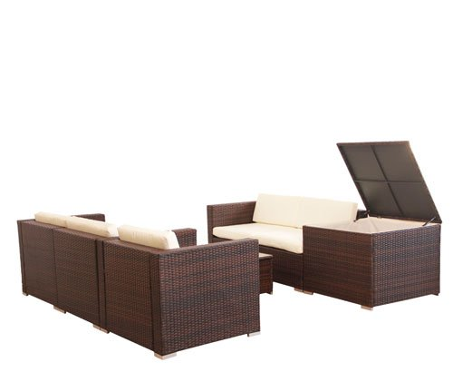 svita del sol poly rattan lounge gartenset sofa garnitur polyrattan gartenm bel kissenbox braun. Black Bedroom Furniture Sets. Home Design Ideas