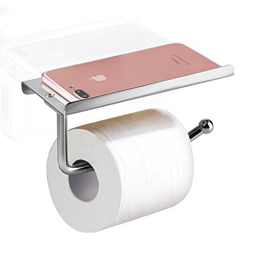 omaloo Toilettenpapierhalter Edelstahl Wand montiert Badezimmer Tissue Halter WC-Tissue Rollenhalter mit Handy Regal Ständer Rack (Hotel Regal-kit)