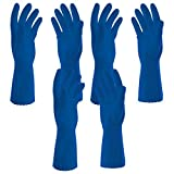 #4: Parineeta Hand Care Flocklined Rubberex Hand Gloves for kitchen, laundry, garden, floor scrubbing, washing (Medium, Set of 3 Pairs, Blue)