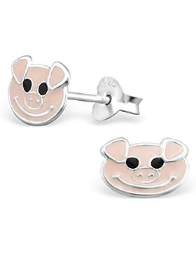 Ein Paar Kleine Rosa Schweine Ohrstecker aus Sterling Silber (1 cm x 0,7 cm) mit Schwarzen Kristall Augen Inklusive...
