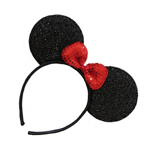 Pritties Accessories Black Sparkly Glitter Mouse Ears Alice Hair Band Headband Fancy Dress Party Hen