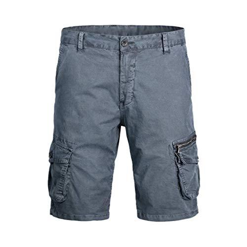 NNVNN Herren Shorts Freizeit Lose Shorts Baumwolle Arbeit Shorts Sommer Knopf Multi-Pocket Strandhose (Grau, 34) (Silber High-waisted Pailletten-shorts)