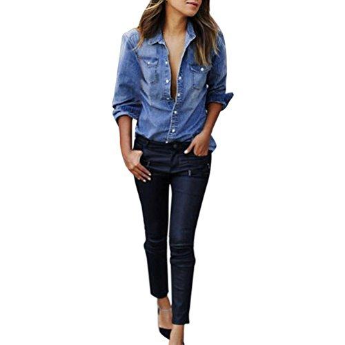 Byste donna camicia blusa maglia manica lunga giacca di jeans cowboy camicia denim cappotto sottile casual maglietta t-shirt camicetta tops (blu, m)