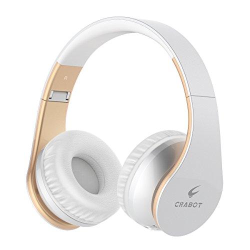 Bluetooth Kopfhörer On Ear, Crabot Hi-Fi Stereo Wireless Headset mit Mikrofon, 13 Stunden Spielzeit für Reisen, schnurlose klappbare mobile Kopfhörer, bequemes Tragen für Kinder und Erwachsene, Workout für iPhone X 8 7 7 Plus 6 6S, Samsung Galaxy, Huaiwei, HTC, LG