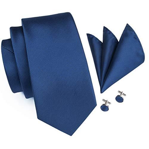 Hi-Tie Caja de regalo de corbata formal, gemelos de cachemira y pañuelo cuadrado para hombre