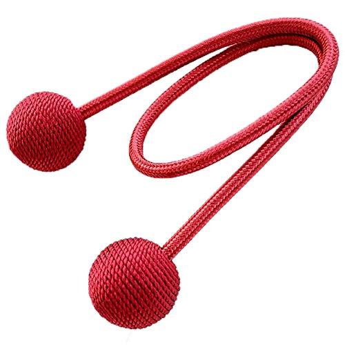 Leisial Einfach Süß Vorhang Schnalle Vorhang Raffhalter Vorhang Halter Vorhang Seil mit Einem Ball Wohnzimmer Kreative Dekoration Rot (Süße Rote Binder)