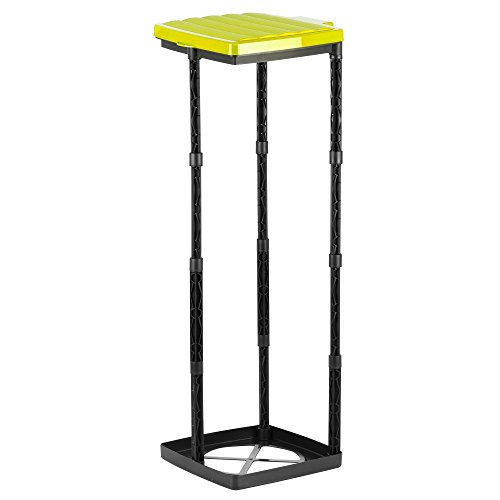 *Grizzly Müllsackständer bis 120L Müllsackhalter in 3 Höhen Verstellbar Abfallsammler mit Gelbem Deckel Gelber Sack Ständer mit Klemmring Made in Germany*