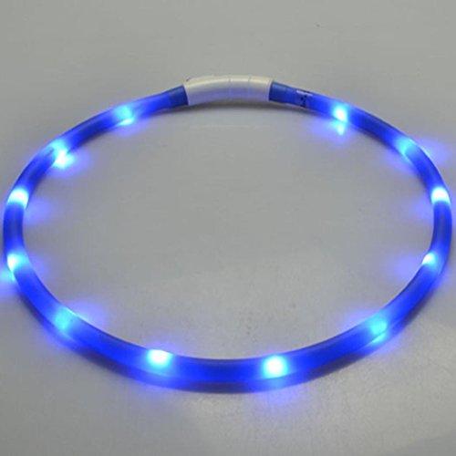Xshuai 70cm Wetterfeste wiederaufladbare USB Wasserdichte LED Blinkende hohe Sichtbarkeit Lichtband Sicherheit Haustier Hundehalsband (Grün / Blau / Orange / Lila / Rosa / Rot / Weiß / Gelb) (Blau)
