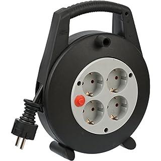 Brennenstuhl Vario Line 4-fach Kabelbox / Indoor Mini-Kabeltrommel (für Haushalt, 5 m Kabel) schwarz/grau