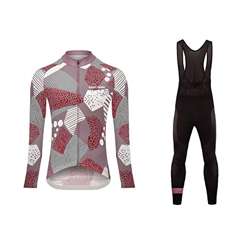 Uglyfrog Hiver Femme Cuissard VTT + Maillot Velo à Manches Longues Thermo Vêtements de Cyclisme...