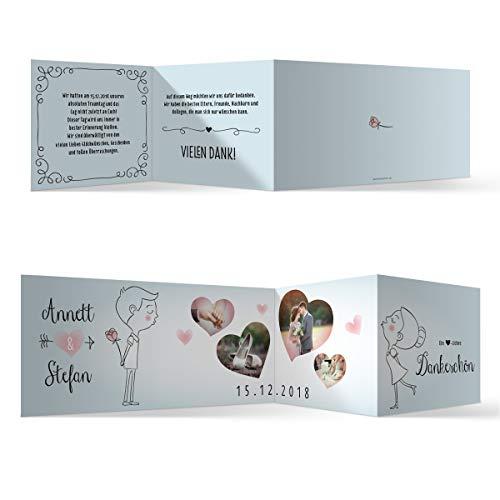 30 x Hochzeit Dankeskarten Danksagungskarten individuell mit Ihren Texten und Fotos Zickzack Klappkarte DIN Lang 99 x 210 mm - Küssendes Paar
