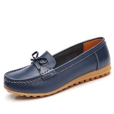 pwne Donna Mocassini &Amp; Slip-Ons Pelle Comfort Estate Autunno Outdoor Office &Amp; Carriera Casual Bowknot Tacco Piatto Blu Rosso Nero Piatto Bianco US8.5 / EU39 / UK6.5 / CN40