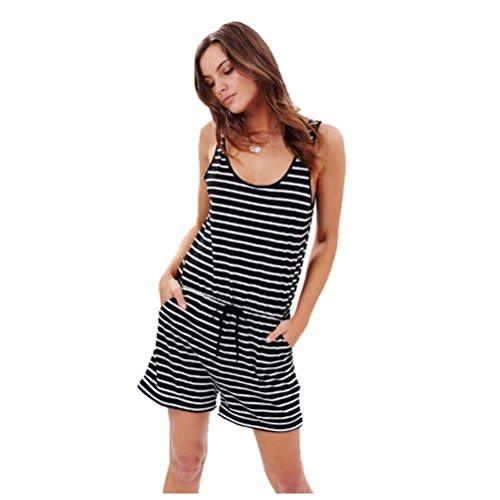Women Jumpsuits, HEHEM Sexy Women Stripe Sleeveless Bodycon Mini Rompers Bodysuit Jumpsuit Sexy Jumpsuit Casual Loose Jumpsuit Fashion Rompers Summer Off Shoulder Playsuit