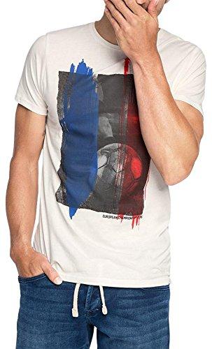 ESPRIT Herren T-Shirt mit Fußballprint - Regular Fit, Gr. X-Large, Weiß (Off White 110)