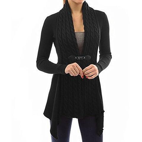 FEESHOW Femme Crochet Tricoté Cardigan Outwear Tops Manteaux Veste à Manches Longues Ceinture Coton Laine Noir XXL