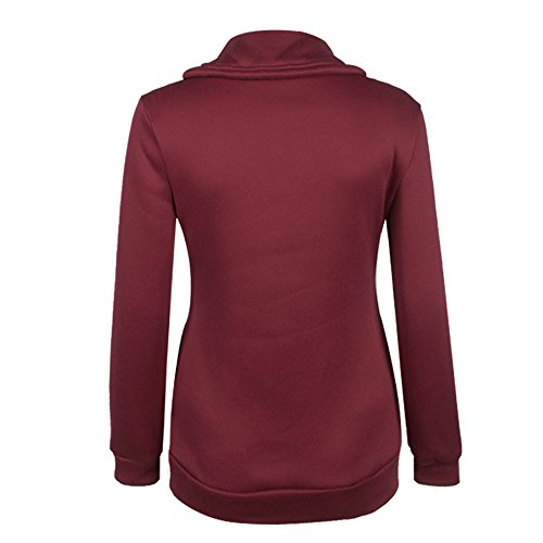 LHWY Femmes Winter Zipper Blouse Hoodie Sweat à capuche Pull Jacket Vin rouge
