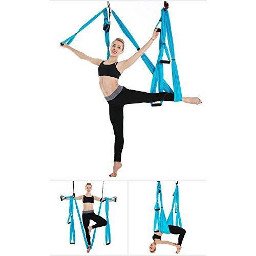 Fliege Indoor-antenne (Alger Anti-Schwerkraft Antenne Fliegen Hängematte Yoga Indoor Fallschirm Tuch Hängematte Keine Dehnung mit 6 Griffen, 250 * 150cm , Lake Blue)