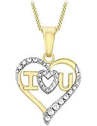 Carissima Gold 9 ct 2 Colour Gold I LOVE YOU Heart Pendant on Curb Chain Necklace of 46 cm/18 inch