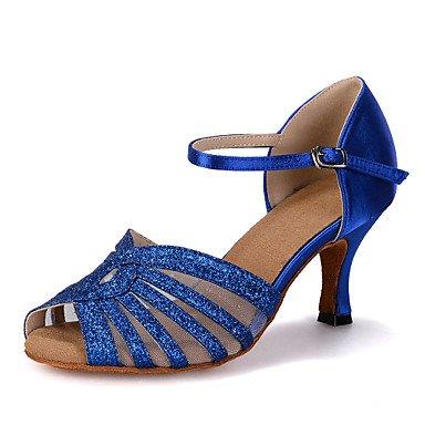 Silence @ pour femme Chaussures de danse latine en similicuir évasé Talon Red