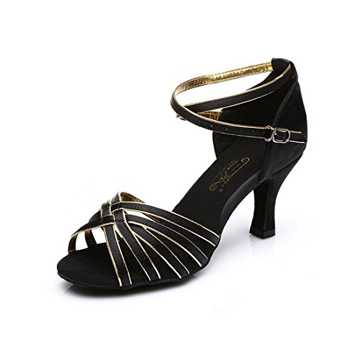 Samba Kostüme Ballroom (Damen Fashion Ballsaal Latein Tango Absatzschuhe, damen, schwarz / goldfarben,)