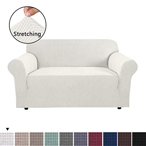 BellaHills 1 Piece Stretch Stylish Furniture Sofa Cover for Loveseat Featuring Jacquqard Textured Twill Fabric, High Spandex Couch Cover Machine Washable/Non Skid Slipcover (2 Seater, Ivory White)