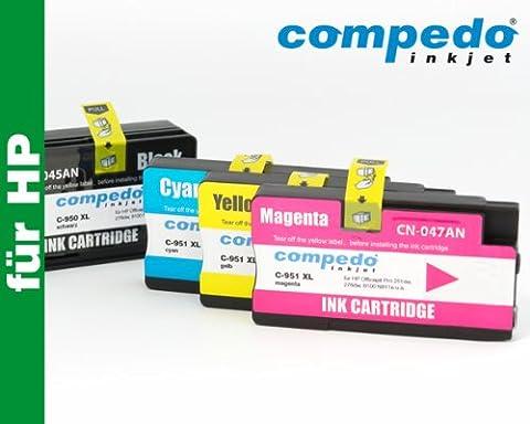 Compedo Premium XL-Multipack 4er CMYK (1 x 82 + 3 x 28 ml) mit Chip und Füllstandsanzeige ersetzt HP Nr. 950XL/951XL (C2P43AE) für HP Officejet Pro 251dw, 276dw, 8100 N811a, 8600 N911a, 8600 Plus N911g u. a.