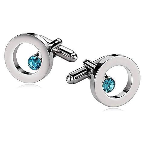 Epinki Stainless Steel Men's Classic Shirt Cufflinks Hollow Round Crystal Pierced Silver Blue